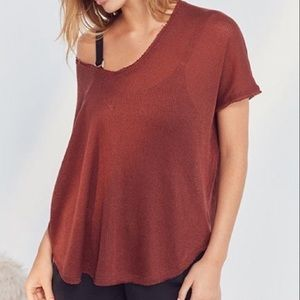 🆕Out From Under Red Oversized Thermal Frankie Top